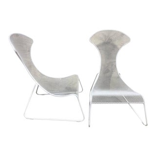Italian Modern Tapered Wrought Iron Lounge Chairs - A Pair For Sale