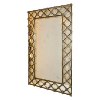 1940s Italian Antique Venetian Geometric Amber Gold Murano Glass Mirror For Sale