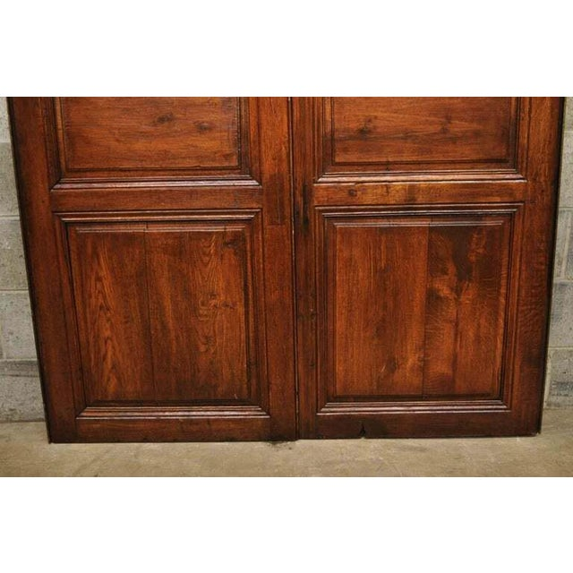 Antique French Louis XVI Style Carved Oak Interior Double Doors - Set of 2 For Sale - Image 11 of 13