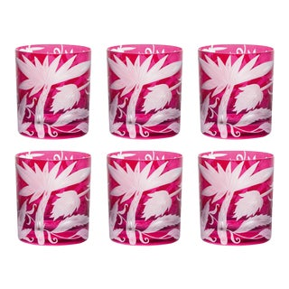 Jungle Deco Double Old Fashioned Glasses, Set of 6, Fuschia For Sale