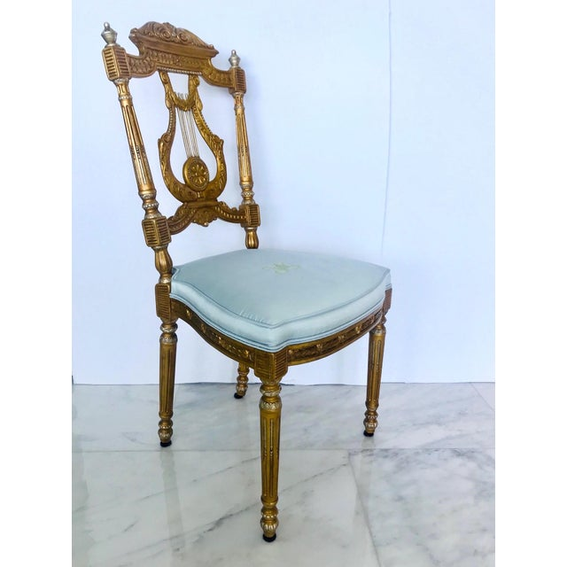 Belle Epoque Elegant Belle Epoque Lyre Chair in Antique Gold Leaf, Italy For Sale - Image 3 of 13