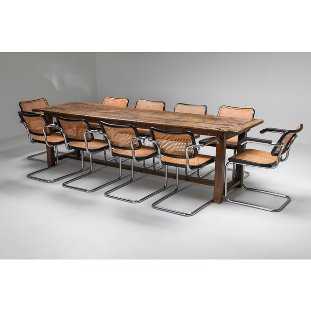 1800s Rustic Modern Refactory Oak Dining Table For Sale - Image 10 of 13