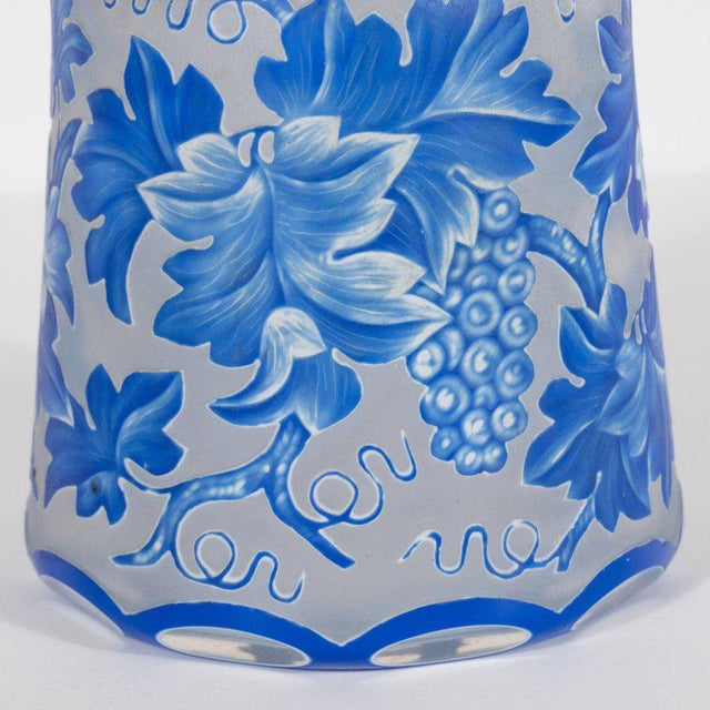 Glass French Art Deco Decanter in Ancient Blue with Grape Vine and Leaf Motif For Sale - Image 7 of 10