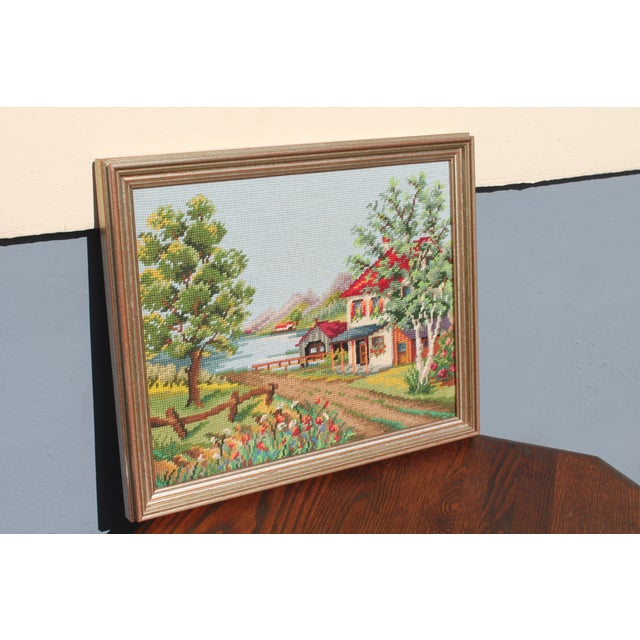 Vintage Framed Country Home Needlepoint For Sale In Miami - Image 6 of 10