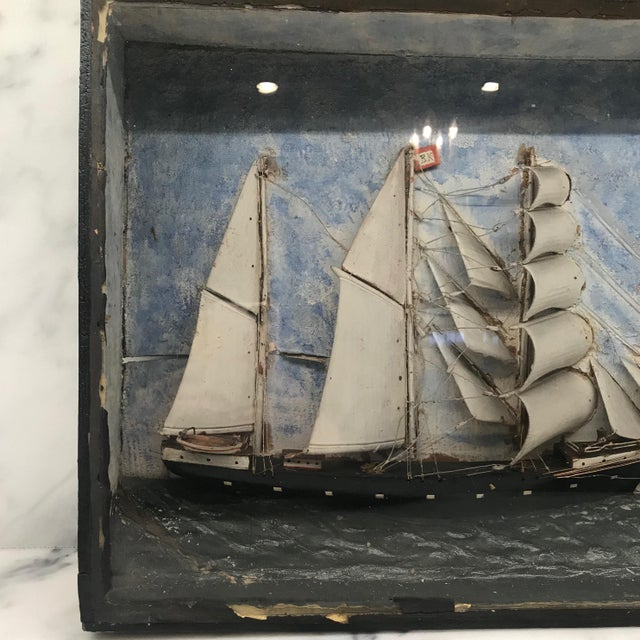 Wood Early 19th Century Diorama Shadow Box of Sailing Vessel For Sale - Image 7 of 11