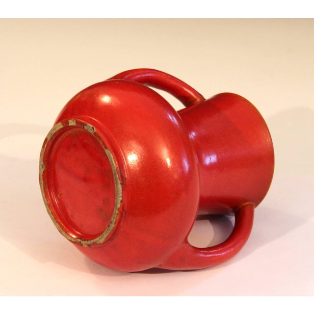 1930s Awaji Pottery Japanese Art Deco Vase Crystalline Chrome Orange Red Glaze For Sale - Image 5 of 11