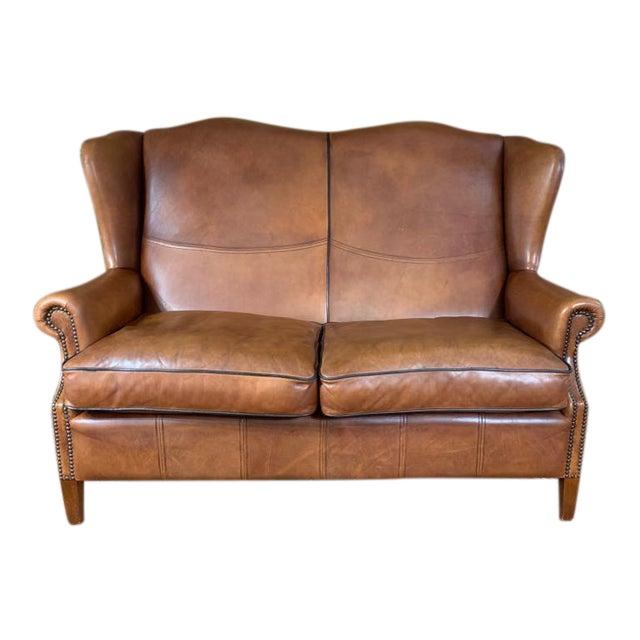 Vintage Danish Sheep Skin Leather High-Back Sofa