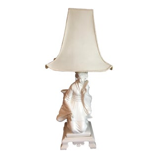 Monumental Blanc De Chine Geisha Girl Lamp - Italy