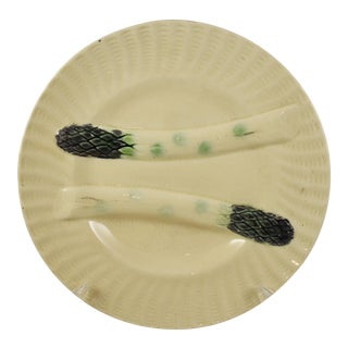 Creil et Montereau French Barbotine Majolica Asparagus Plate For Sale