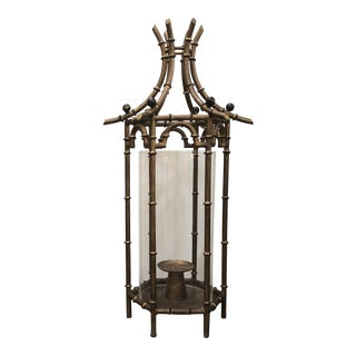 Large Chinoiserie Metal Pagoda Lantern For Sale
