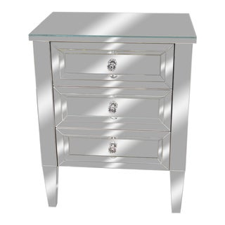 Beautiful Custom Mirrored Nightstand For Sale