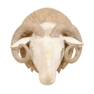 Carved and Painted Wood Ram's Head Wall-Mounted Sculpture For Sale