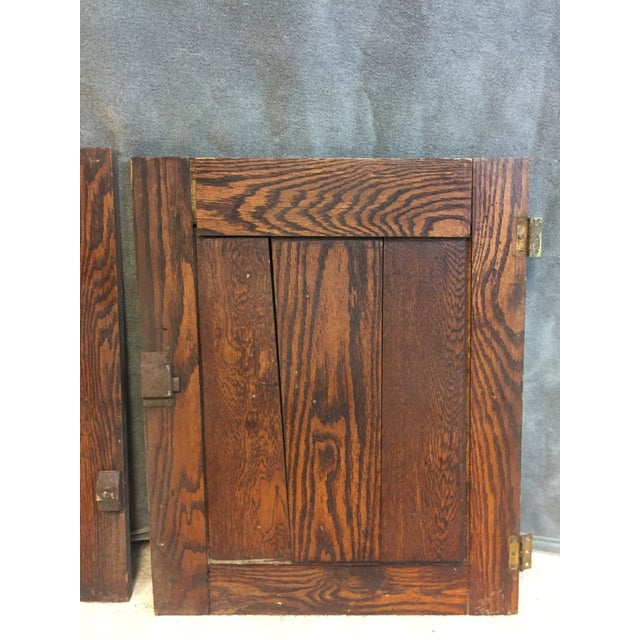 Cottage Vintage Rustic Wood Cabinet Doors - A Pair For Sale - Image 3 of 11