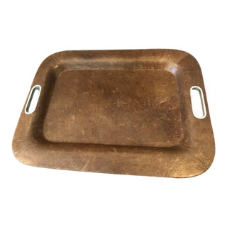 Traditional Leather Tray with Stainless Steel Handle Inserts For Sale