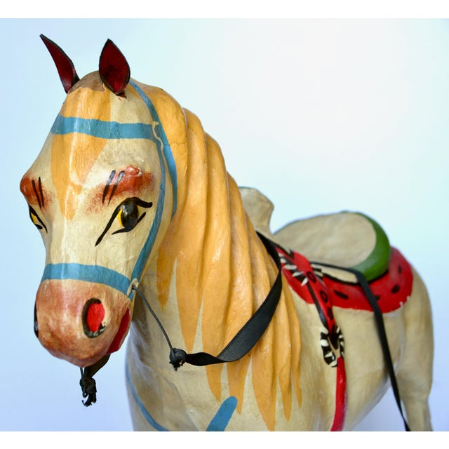 "1950-60s Mexican Folk Art Paper Mache Wood Pull Horse 27""h For Sale - Image 4 of 7"