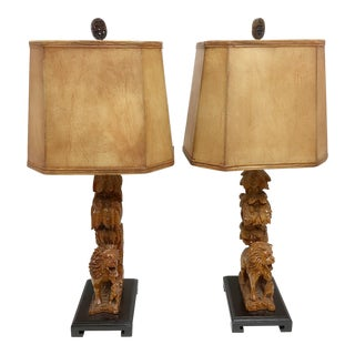 Carved Wood Lion Table Lamps - A Pair For Sale