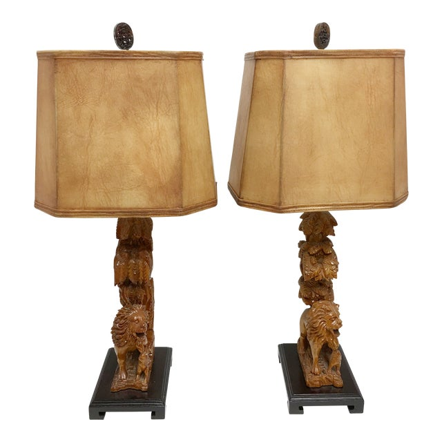 Carved Wood Lion Table Lamps - A Pair - Image 1 of 11