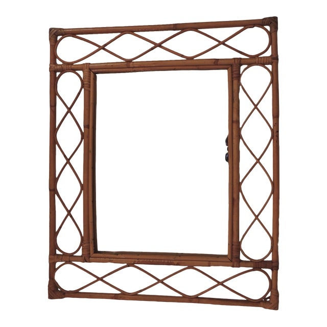 Vintage Bamboo and Rattan Wall Mirror For Sale