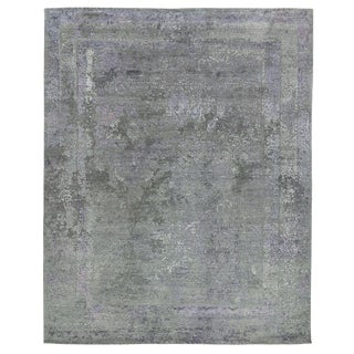 Jordan Charcoal/Purple Hand knotted Wool/Viscose/Cotton Area Rug - 10'x14' For Sale