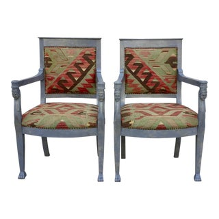 Kilim Upholstered Egyptian Revival Chairs - A Pair