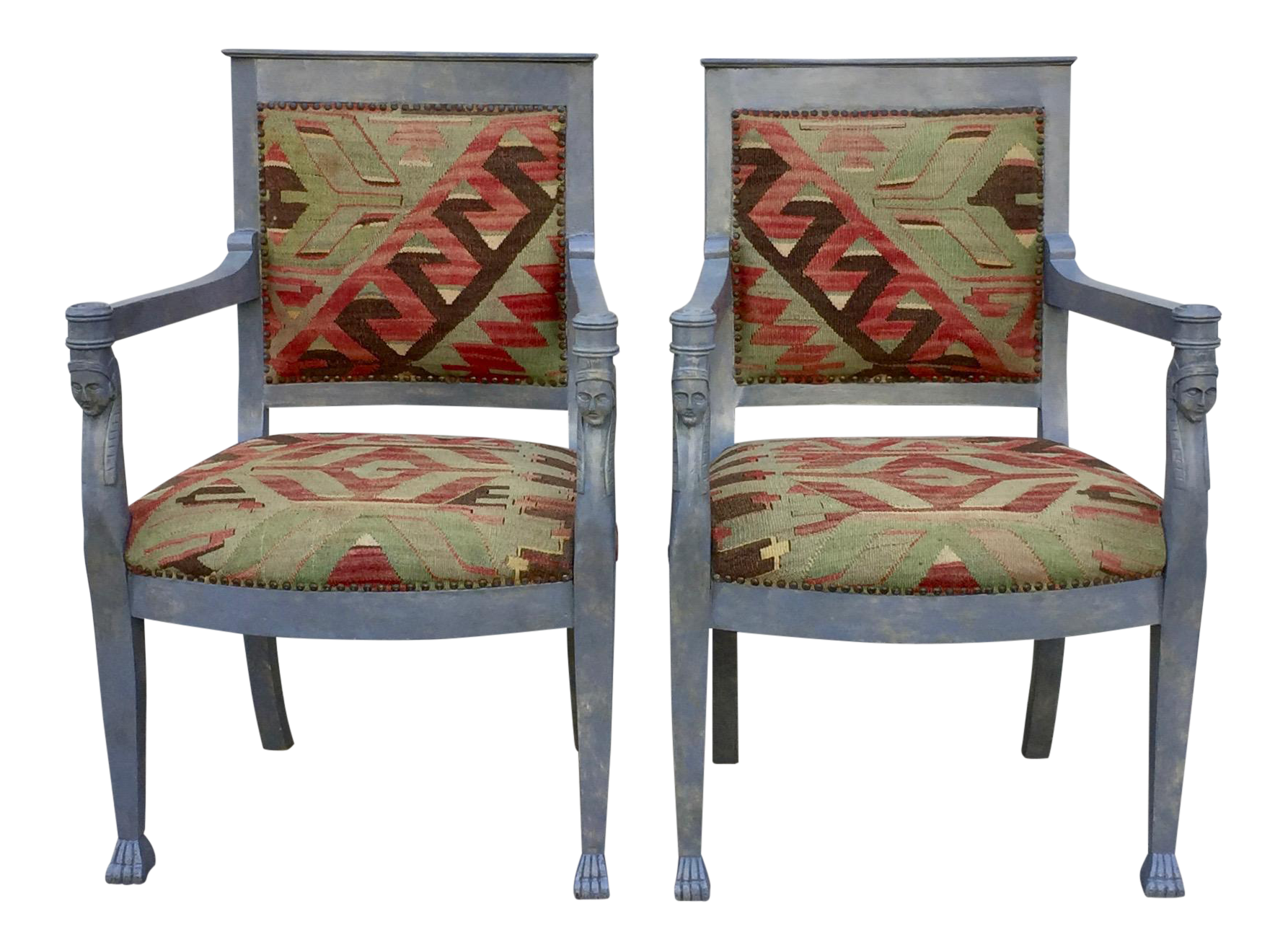 Kilim Upholstered Egyptian Revival Chairs   A Pair