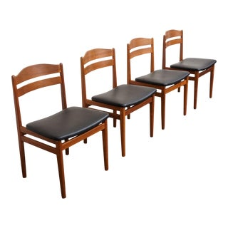 Original Danish Mid Century Modern Set of 4 Ladder Back Chairs - Anna Lise For Sale