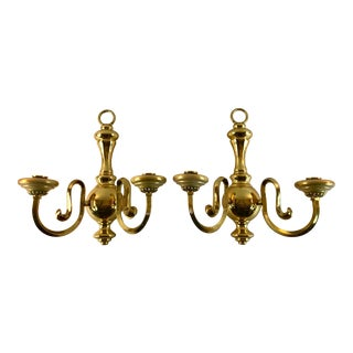 1980s Federalist Brass Wall Sconces - a Pair For Sale
