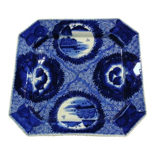 Antique 19th Century Japanese Cobalt Blue & White Octagonal Platter For Sale