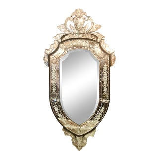 Shield Shaped 20th Century Venetian Mirror. For Sale