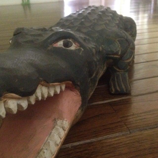 Vintage Carved Wood Folk Art Alligator - Image 11 of 11