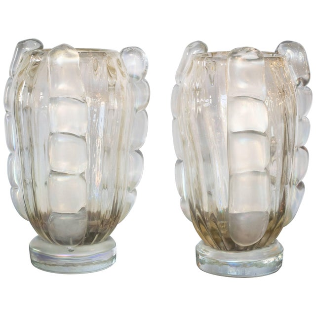Excellent Ribbed Murano Vases By Sergio Costantini Pair Decaso