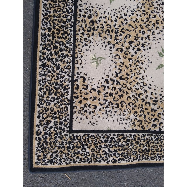 Contemporary Stark Studio Limited Edition-White Rose/ Leopard Print Rug For Sale - Image 3 of 7