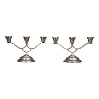 Sterling Silver Candelabra - a Pair For Sale