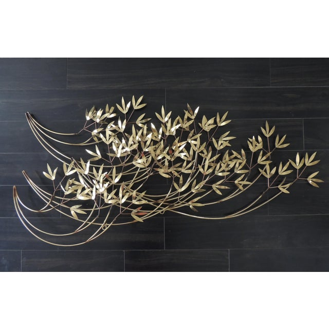 Curtis Jere 1980s Mid-Century Modern Curtis Jere Blowing Bamboo Metal Wall Sculpture For Sale - Image 4 of 6