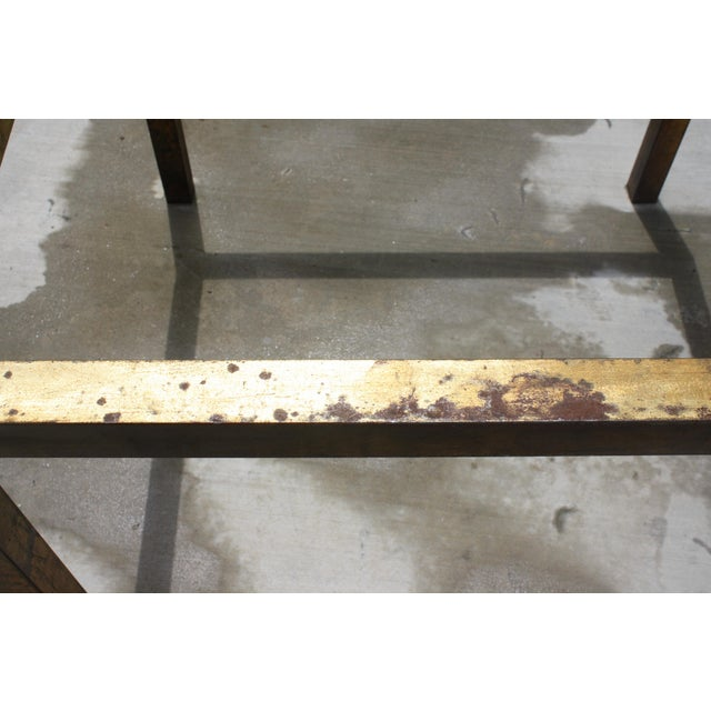 Vintage Modernist Gilt Metal Parsons Table with Thick Glass Top - Image 4 of 10