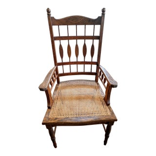 Late 19th Century Vintage Shaker Oak Wood and Wicker Chair For Sale