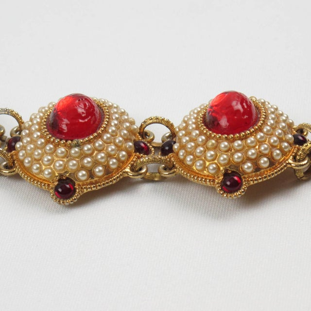 Chantal Thomass Paris Signed Jeweled Link Bracelet Red Resin Cabochon For Sale - Image 4 of 8
