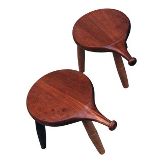 Mid Century Modern Amana Furniture Three-Legged Stools- A Pair For Sale