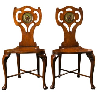 Late 18th Century George III Mahogany Hall Chairs - a Pair For Sale