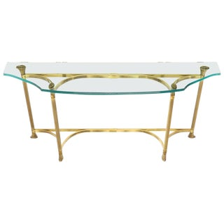 Bent Brass Base Curved Glass Top Figural Console Sofa Table For Sale