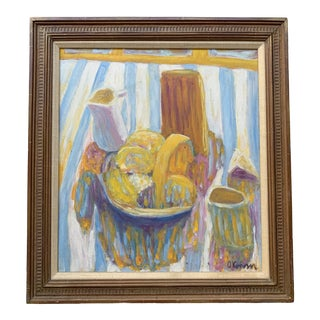 Abstract Colorful Still Life Bowl of Fruit Signed Oil Painting For Sale