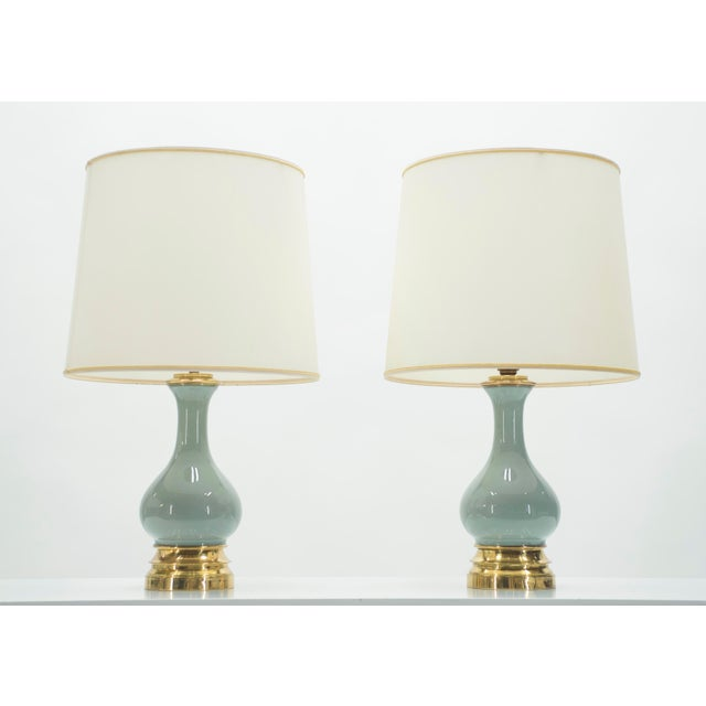All understated luxury, this pair of 1950s french bedside lamps boast the exquisite craftsmanship characteristic of mid-...