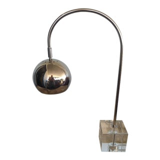 Vintage Mid-Century Space Age Chrome Glass and Nickel Articulating Desk Lamp For Sale