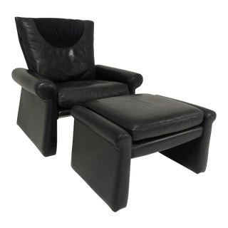 Guido Faleschini Black Leather a Lounge Chair and Ottoman, Italy 1970 Pace Collection For Sale