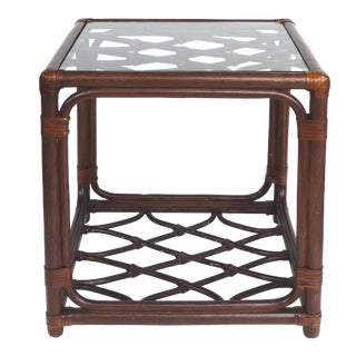 Rattan Side Table W/Criss-Cross Design & Leather Strapping Attributed to McGuire For Sale