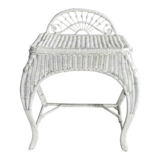 1970s Cottage White Wicker Vanity Dressing Table For Sale