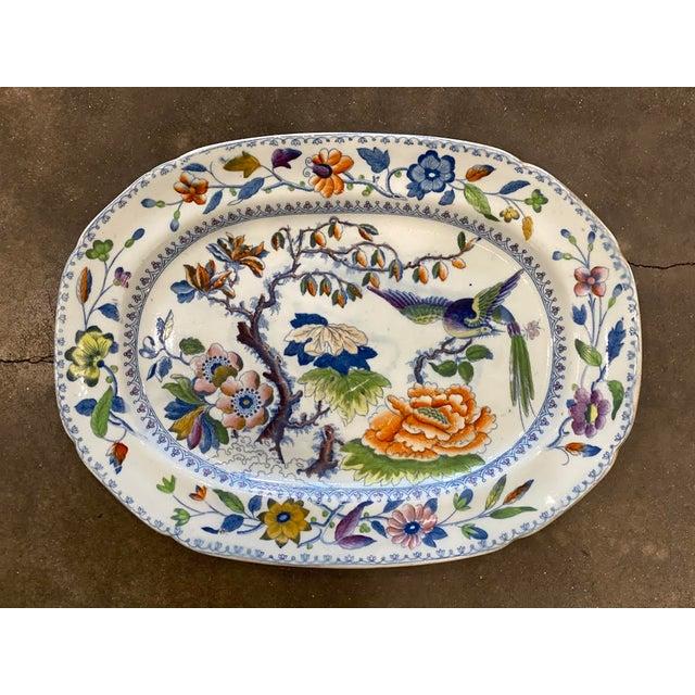 "Blue Antique ""Flying Bird"" Davenport Platter For Sale - Image 8 of 8"
