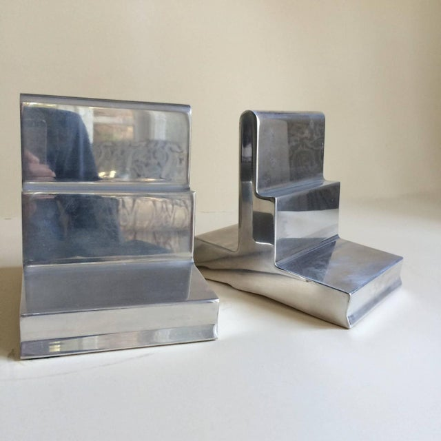 Polished Aluminium Bookends - Pair - Image 2 of 4