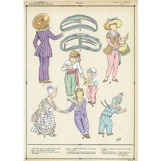 Louis XVI Children's Fashions, Original Pochoir Print For Sale