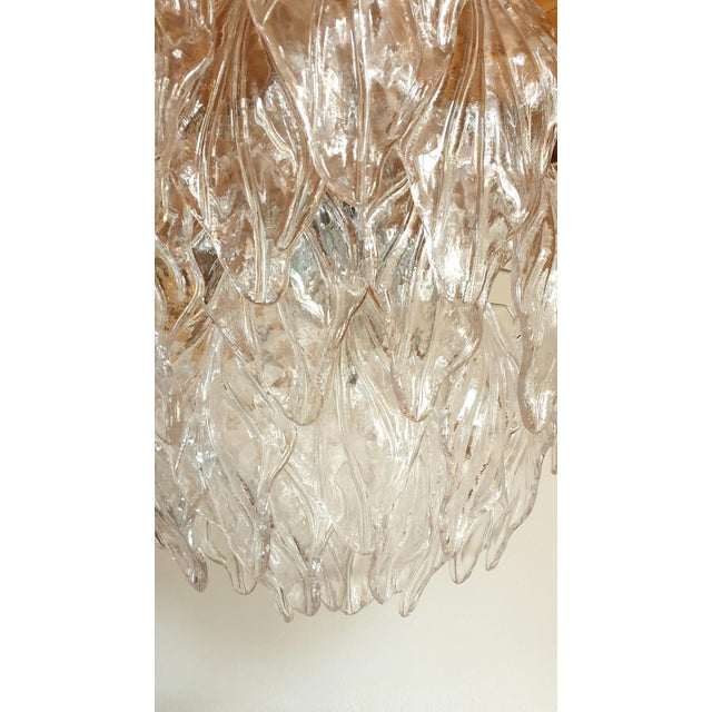 1970s Mid Century Modern Murano Glass Leaves Chandelier For Sale - Image 10 of 11